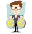 Businessman with bags full of euros vector image