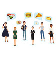 caucasian young women thinking fast food vector image vector image