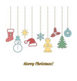 christmas garland in doodle style vector image vector image