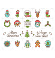 christmas line icons set holiday symbols new vector image vector image