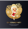 christmas party card dark with happy girl vector image vector image
