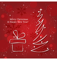 christmas tree and gift box vector image vector image
