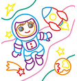 coloring book of astronaut and rocket vector image