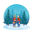 couple with daughters with winter clothes in vector image vector image