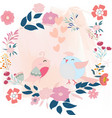 cute bird couple in the flower frame vector image