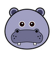 cute hippo face cute animal faces vector image vector image