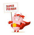 cute superhero pig isolated on vector image