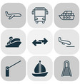 delivery icons set with school bus vessel plane vector image vector image