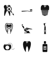 Dental clinic icons set simple style