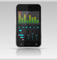 digital equalizer on smartphone screen vector image vector image