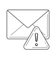 email spam with warning sign line icon vector image