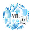 flat clear water round concept vector image
