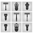 flat trendy dark icon with electric shaver vector image