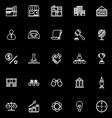 Franchise line icons on black background vector image vector image