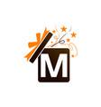 gift box ribbon letter m vector image vector image