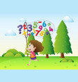girl catching numbers and math signs in the park vector image vector image