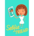Girl is taking selfie Handdrawn vector image