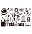 halloween elements composition vector image