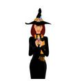 halloween of young witch with long brown hair and vector image