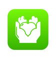 hand heart icon green vector image