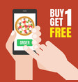 hand holding smartphone to order pizza vector image