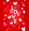 happy st valentines day card with paper word love vector image vector image