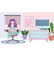 home office workspace woman using laptop sitting vector image vector image