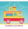 Hot Coffee and Donuts Food Truck and Lights vector image vector image
