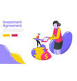investment agreement person who signed the vector image vector image