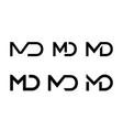 letter m d ligature monogram icon vector image vector image
