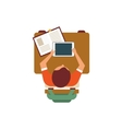 Male Student With Tablet From Above vector image vector image