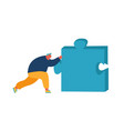 man pushing huge jigsaw puzzle piece isolated on vector image