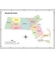 massachusetts state outline map vector image vector image