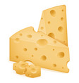 piece of cheese sliced with holes stock vector image