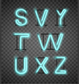 realistic blue neon alphabet set street bars vector image vector image