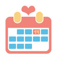 red icon calendar for valentine day with heart vector image