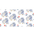 seamless pattern with cute owl in eyeglasses vector image vector image