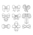 set decorative bow for your design bow vector image