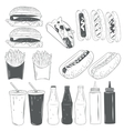 set of fast food products isolated on white vector image vector image