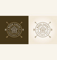 Set of vintage logo with wooden cabin retro print