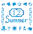 Set of watercolor summer icons vector image