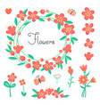 simple cute flowers and butterflies for design vector image vector image