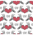 skeleton hands heart seamless pattern vector image vector image