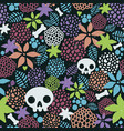 skulls and flowers seamless pattern art vector image vector image