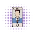 Smart phone with a skype video comics icon vector image vector image