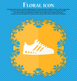 Sneakers icon Floral flat design on a blue vector image vector image