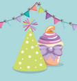 sweet and delicious cupcake with party hat vector image vector image