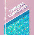 swimming competition poster with top view pool vector image