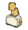 toaster flying out toast sketch engraving vector image vector image