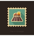 Tractor on field retro flat stamp with long shadow vector image vector image